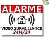 Lot de 8 Autocollants Dissuasifs « Alarme Vidéo Surveillance » Anti cambriolage pour Maison Immeuble Commerce Garage. Stickers Vidéo Surveillance de Qualité Professionnelle (Alarme)...