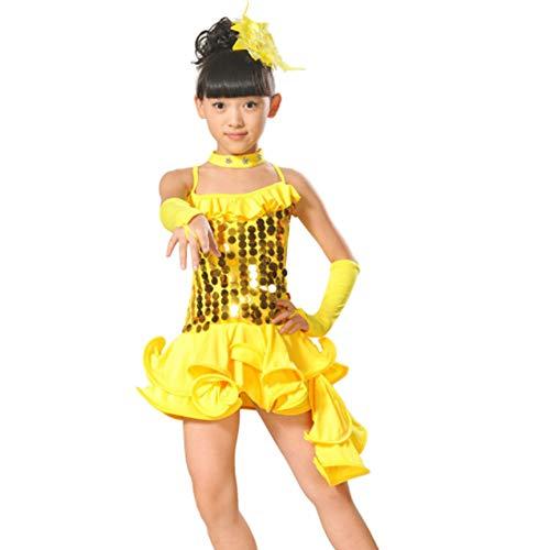 Yiliankeji Lateinisches Tanzkleid Röcke Mädchen - Tanz Kostüm Kinder Performance Verschleiß Salsa Tango ()