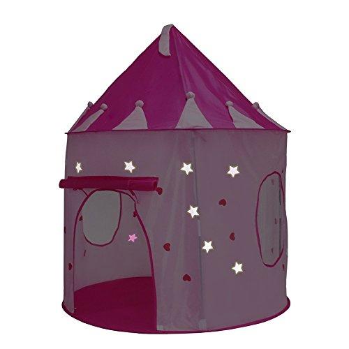 Kinderspielzelt Prinzessinnen-Schloss-Spiel-Zelt (Rosa) - mit Glühen in den dunklen Sternen - Innen- / Spielhaus im Freien für Mädchen, mit Tragetasche für einfache Reise und Lagerung (Den In Dunklen Spielen Im Glühen Freien)