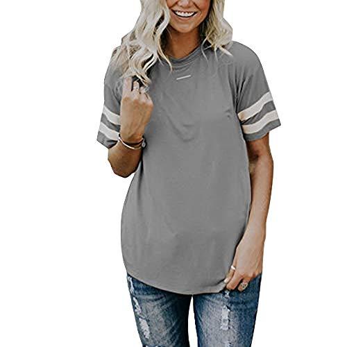 Vertvie Damen T-Shirt Sommer Oberteile mit Rundhals Elegant Streifen Kurzarm Top Sportlich Casual Lose Bluse(Grau, M) -
