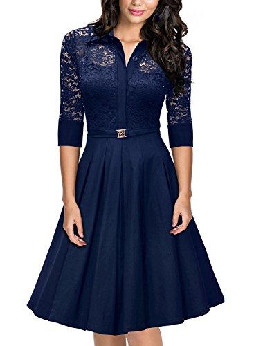 Miusol Damen Spitzen 3/4 Aermel Elegant Revers Cocktailkleid 1950er Jahre Faltenrock Party Kleid...
