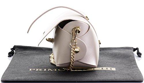 Borsa da sera Mini piccolo Micro spalla a tracolla pelle italiana con tracolla a catena in metallo.Include sacchetto protettivo marca Oro