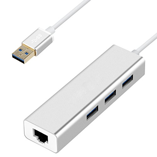USB 3.0 Hub - Premium 3 Port Aluminium USB 3.0 mit RJ45 10/100/1000 Gigabit Ethernet Adapter Konverter LAN-Adapter für Macbook Pro Air, iMac, Mac Mini, ChromeBook Pixel, Surface Pro