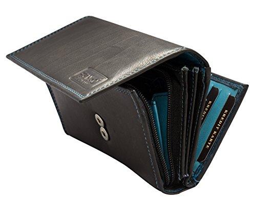 4e66a1c5f2743 Damen Geldbörse Leder Lang mit viele Kreditkarten (Beidseitig bedienbar)  Fächer Frauen Portemonnaie Portmonee Echtleder