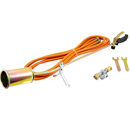 Bituxx Gasbrenner Abflammgerät Unkrautvernichter Brenner Dachbrenner 58Kw inkl. Druckminderer und Adapter 4 Bar
