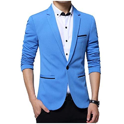 Andopa Herren 1 button turn-down-kragen freizeit mit taschen blazer-jacken-mantel XL Himmelblau