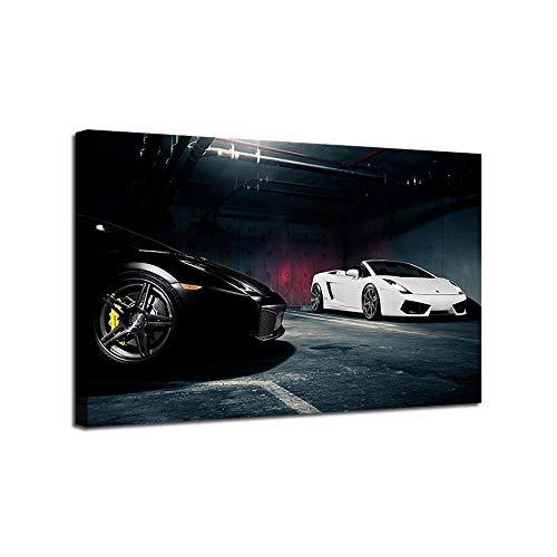 Auto di lusso in garage Quadro Moderno COMPOSIZIONE Stampa su Tela Canvas Arredamento Arte Arredo Astratto Design 1pezzi 60x120cm-No-fram