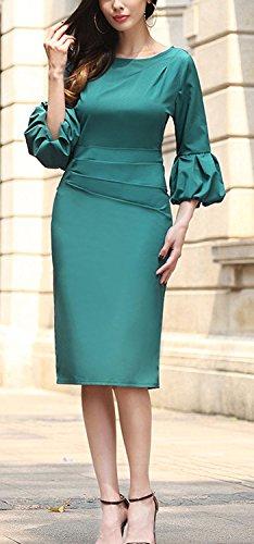 Minetom Donna Estate Elegante Lanterna Manica Vestiti Ragazze Moda Manica a 3/4 Midi Abito Matita Vestito Verde