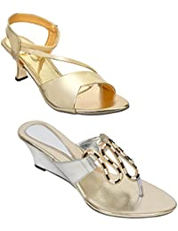 Altek Silver And Golden Colored Resin Cone,Wedges For Women (Pack Of 2) (15202_2_1319_SLV_13209_GLD)