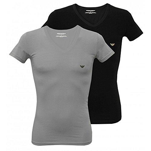 Emporio Armani 2er Pack V- Neck Shirt CC717 Mehrfarbig (NERO/GRIGIO 03320) Medium