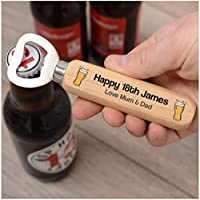 PERSONALISED 18th Birthday Gifts for Him, Son, Brother - Wooden Bottle Opener Birthday Gifts - 18th, 21st, 30th, 40th, 50th, 60th, 70th Birthday Gifts for Dad, Grandad, Uncle - ANY AGE + NAME