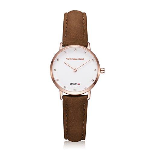 VICTORIA HYDE Damen Armbanduhr Rosegold mit Kleines Ziffernblatt Rund Strass Lederarmband Dunkelbraun Frauen Quarz Uhren Markenuhren
