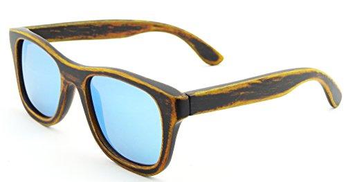 SHINU Polarizadas Gafas de Madera de Bambú Gafas de Sol Lentes de madera vintage y espejos de anteojos Gafas de sol de los hombres Gafas de sol de moda modelo -Z6016 (bamboo stain, ice blue)