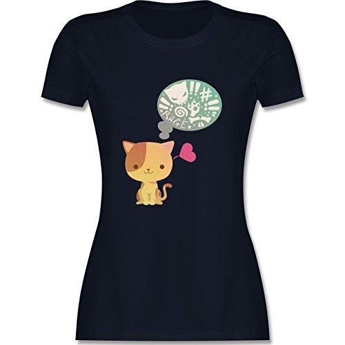 Katzen - Süße Katze Mordlust - tailliertes Premium T-Shirt mit Rundhalsausschnitt für Damen Navy Blau