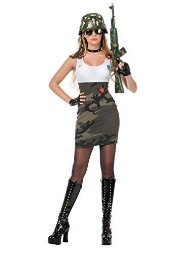 oldaten Kostüm Damen sexy Soldatin camouflage Kleid Girl Dame Karneval Militär Damenkostüm Größe 40 (40 Militär Kostüme)