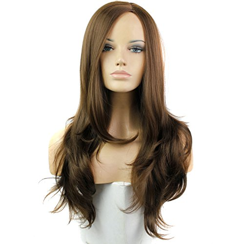Royalvirgin Long bouclés synthétiques Perruques pour femme fait main de haute qualité résistance à la chaleur des Perruques vague Cheveux synthétiques Marron foncé Mode des Perruques