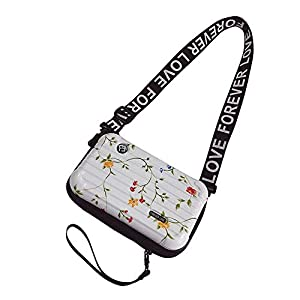 Flywill Handy Umhängetasche Mode Damen Schultertasche Hart ABS+PC Kofferform Kupplung Handtasche mit Verstellbar Abnehmbar Schultergurt Handschlaufe Klein Tasche für Handy unter 6.5 Zoll