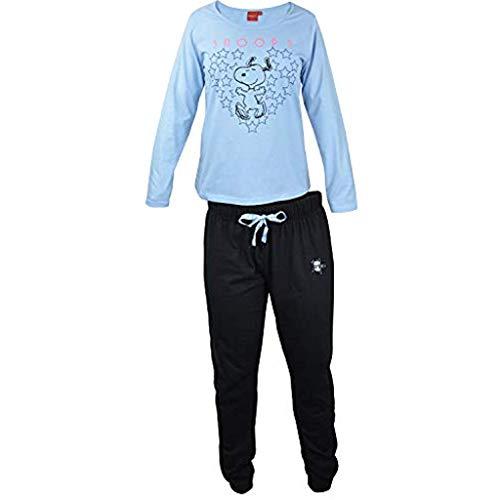 Snoopy - Damen Schlafanzug, lang hellblau-schwarz, Gr. M (Schlafanzug Snoopy Damen)