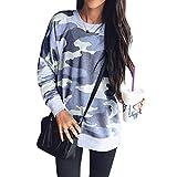 Camouflage Sweater Damen Casual Oberteile Rundhals T-Shirts Langarm Blusen Jumper Tops Blau L
