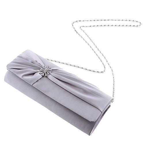 Damara® Damen Satin Partys Crystal-Dekor Abendtaschen Mit Falten Schwarz