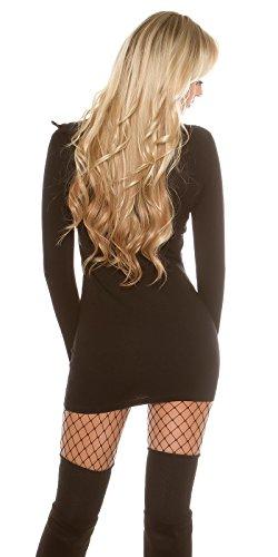 KouCla Pulli Rolli con zip–Maglione Pullover Long Pulli Roll colletto One Size 34–38 Nero