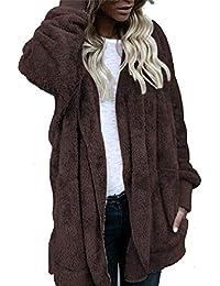 Mujer Larga Abrigo con Capucha Chaqueta de Piel sintética cálido Sudadera Anorak Cárdigan ...