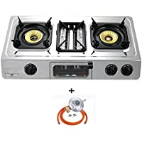NJ GC-87 Gas Stove 2 Burners Grill & Oven Stainless Steel Outdoor BBQ + Gas Regulator Set