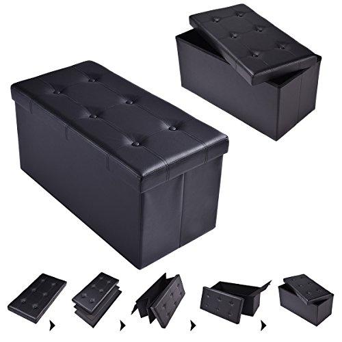 Sitzhocker Sitzbox faltbar Sitzbank Sitzwürfel Sitztruhe Sitzkasten Polsterhocker Leder Truhe Aufbewahrungsbox Fuß Bank 76 x 38 x 38cm (Schwarz)