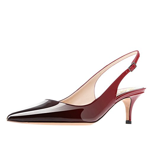 Lutalica Frauen Kitten Heel Spitze Patent Slingback Kleid Pumps Schuhe für Party Patent Rot-Schwarz Größe 37 EU Stiletto Heel Slingback