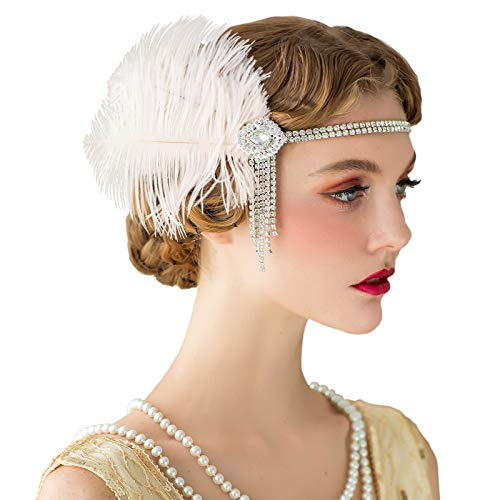 SWEETV Flapper Stirnbänder Womens 1920er Jahre Headpiece Great Gatsby inspiriert Feder Stirnband Cocktail Party Haar Zubehör für Damen, Blush Pink