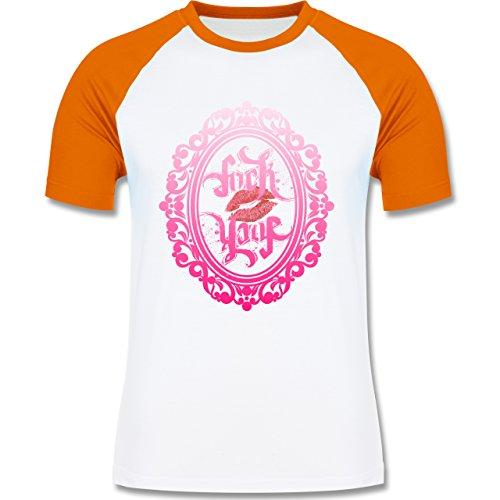 Statement Shirts - Ambigramm Fuck - Love - zweifarbiges Baseballshirt für Männer Weiß/Orange