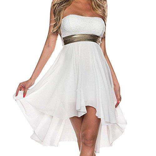 D9Q Frauen Sommer Reizvolle Spitze Ballkleid elegante trägerlose Abend Partei Kleid Weiß
