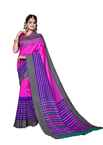 Dream Beauty Fashion Sarees Daily Wear Stripe & Geometric Print Pink Color Cotton Sari With Blouse (Malgudi-4377)