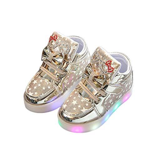 Lazzboy Kleinkind Baby Mode Turnschuh Stern Leuchtendes Kind Beiläufige Bunte Helle Schuhe Turnschuhe Sterne Leucht Casual Licht Mesh Sommer Sportschuhe(Gold,24)