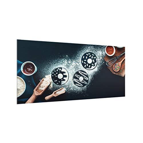 Bilderwelten Spritzschutz Glas - Backrezept Donuts - Querformat 1:2, HxB: 59cm x 120cm