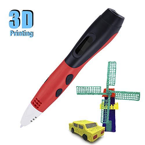 Intelligentes 3D-Druckdesign Pinter 3D-Schreibfeder mit niedriger Temperatur mit LCD-Display PCL Filament Refilament Geschenke für Kinder DIY Handwerk Automatische Versorgung Ohne Verstopfungen rot