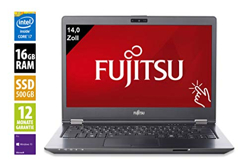 Fujitsu LifeBook U747 vPro | Notebook | Laptop | 14,0 Zoll (1920x1080) | Intel Core i7-7600U @ 2,8 GHz | 16GB DDR4 RAM | 500GB SSD | Touch | Windows 10 Pro (Zertifiziert und Generalüberholt) 2.8 Ghz Notebook