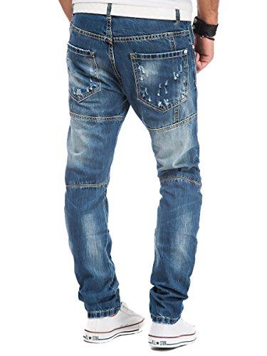 Jeans Herren Hose Denim Vintage Clubwear Used Look Chino Blau Blau