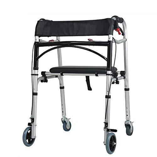 Aluminium 4 Rädern Rollator (SCJ Leichter Aluminium-Klappbarer 4-Rad-Tri-Walker mit feststellbaren Bremsen, höhenverstellbar, eingeschränkte Mobilitätshilfe)