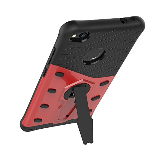 Für Huawei P8 Lite 2017 Fall Neue Rüstung Tough Style Hybrid Dual Layer Rüstung Defender Soft TPU / PC Rückseitige Abdeckung Fall mit 360 ° Stand [Shockproof Case] ( Color : Blue ) Red