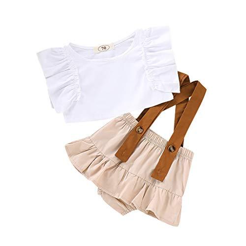 (JUTOO 2 Stücke Set Infant Baby Mädchen Sleeveless Solide Rüschen Tops + Hosenträger Shorts Outfits Sets (Weiß,90))