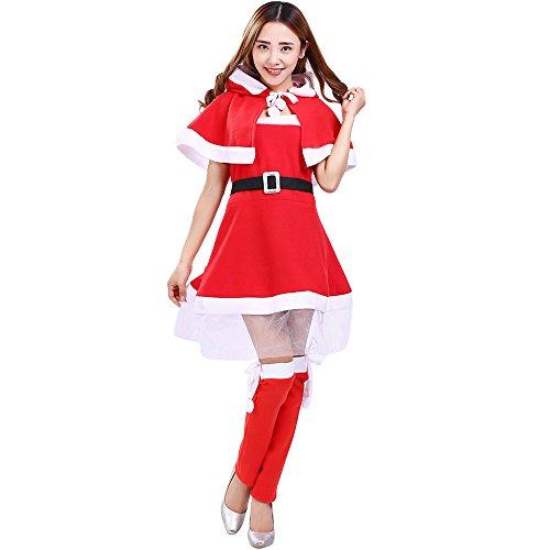 Amphia Weihnachten Kostüm 4-teilig Damen - (1pc Kleid/1pc -