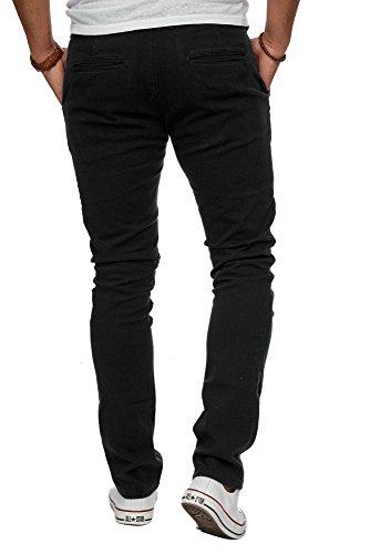 MERISH Chino Stretch Stoffhose Slim Fit Herren Figurbetont viele Farben 169 Schwarz