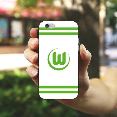 Apple iPhone X Silikon Hülle Case Schutzhülle Vfl Wolfsburg Fanartikel Wölfe Fußball Silikon Case schwarz / weiß