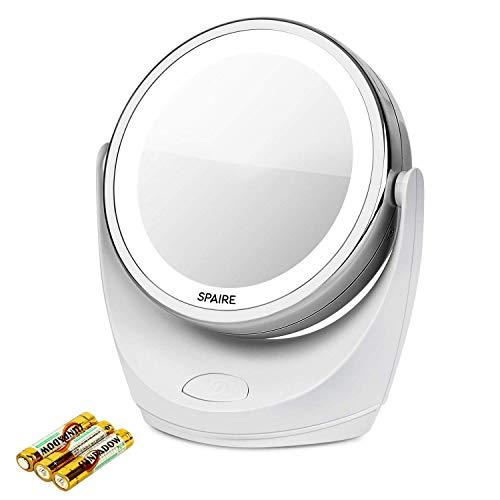 spaire Espejo de maquillaje 5x/1x, Luz LED con aumento de giratorio de 360 ° Espejo de pie plegable recargable USB de doble cara (carga USB)