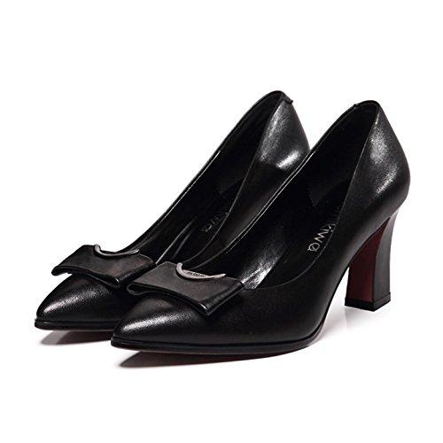 WSS chaussures à talon haut La version coréenne de la grossière en cuir haut talon pointu Chaussures femmes Black