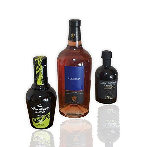 Masseria Barone Melodia Kit Vino ed Olio: 1 Vino Rosato Rosapulia + 1 Aceto Balsamico di Modena + 250 ml Olio Evo - Set Vino, Olio, Aceto - Tris Risparmio