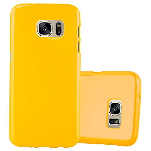 Preisvergleich Produktbild Cadorabo Hülle für Samsung Galaxy S7 - Hülle in Jelly GELB – Handyhülle aus TPU Silikon im Jelly Design - Silikonhülle Schutzhülle Ultra Slim Soft Back Cover Case Bumper