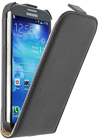 Ultra Slim Schwarz Leder Tasche Hülle Samsung Galaxy S4 (GT-i9500 / i9505 LTE / i9502 Duos / Google Edition / S4 Value Edition GT-i9515 / SCH-I959) - Flip Case Cover + 2 Displayschutzfolie