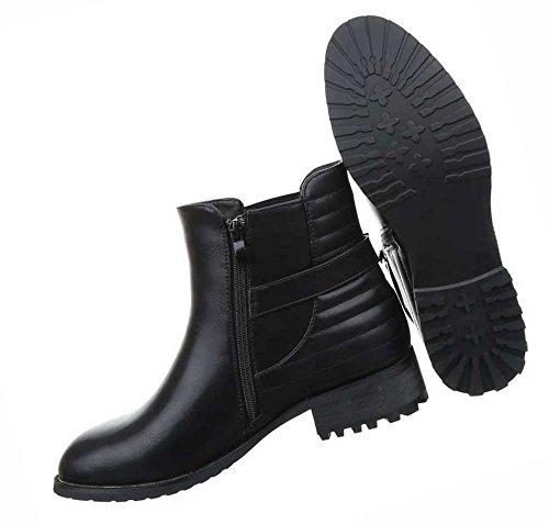 Damen Boots Schuhe Leicht Gefütterte Stiefeletten Schwarz 36 37 38 39 40 41 Schwarz